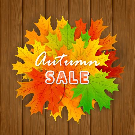 Inscription Autumn sale and orange maple leaves on wooden background, illustration. Illustration
