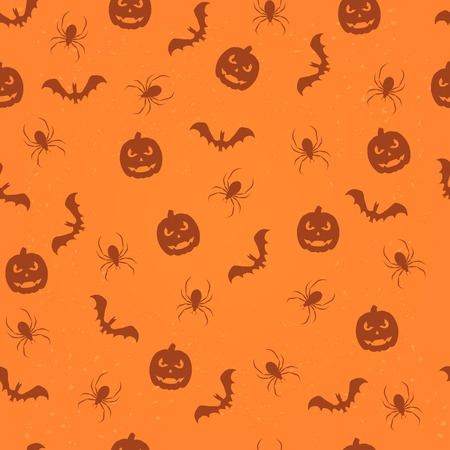 all saints day: Seamless orange Halloween background with pumpkins, bats and spiders, illustration. Illustration