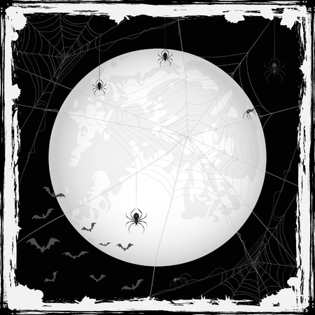 cobwebs: Abstract Halloween grunge background with Moon, black spiders, cobwebs and bats, illustration.