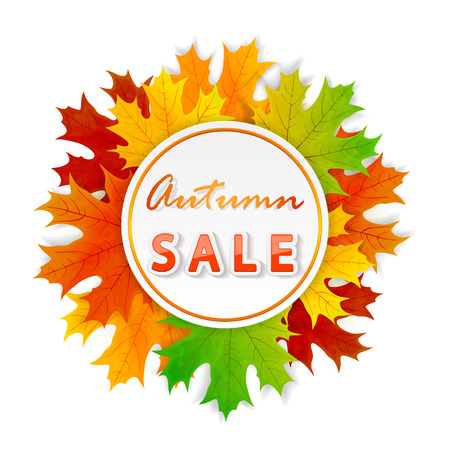 Inscription Autumn sale with round card and orange maple leaves isolated on white background, illustration. Illustration