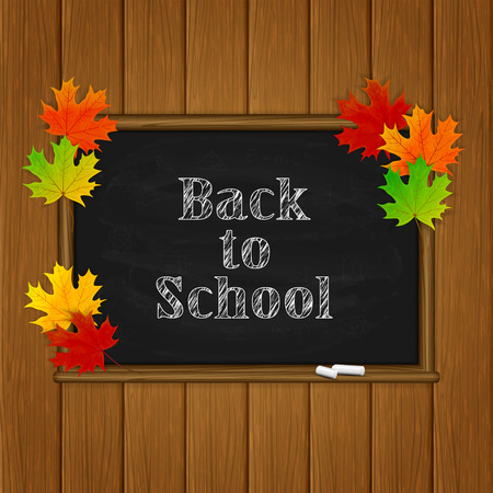 studying classroom: Wooden background with maple leaves and words Back to School written in white chalk on a black chalkboard, autumn background, illustration.
