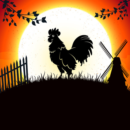 Rooster on the background of the morning sun, illustration.