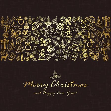 Adornos De Navidad Patrn Sin Fisuras Dibujado A Mano De Oro Sobre