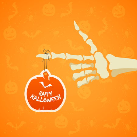 Halloween theme, skeleton hand and holiday card in the form of pumpkin on orange background with Jack o Lanterns, bats and spiders, illustration.