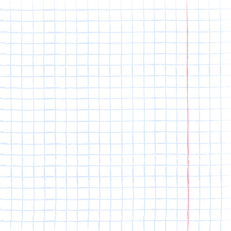 notebook paper background: Abstract squared background, sheet of notebook paper, blank worksheet exercise book with blue grid, illustration.