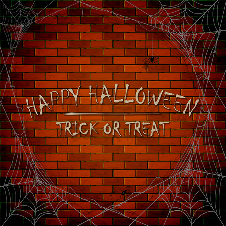 Inscriptions Happy Halloween and trick or treat on brick wall background with cobwebs and black spiders, illustration. Illustration