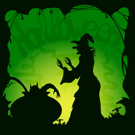 cauldron: Halloween theme, cauldron with demon and old witch on green background, illustration.
