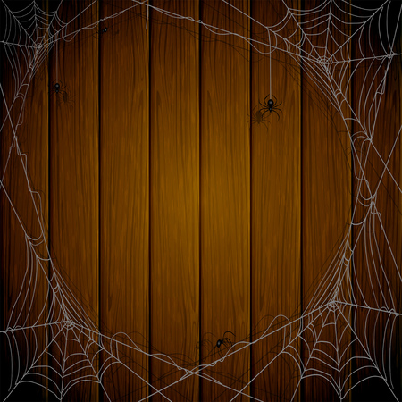 cobwebs: Halloween theme, dark wooden background with cobwebs and black spiders, illustration.