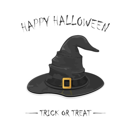 gold buckle: Halloween theme, black witch hat with golden buckle isolated on white background, inscription Happy Halloween and trick or treat, illustration.