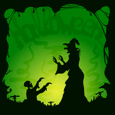 green and black: Halloween theme, old witch and zombie on green background, illustration. Illustration