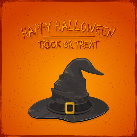 bewitch: Halloween theme, black witch hat with golden buckle on grunge orange background, inscription Happy Halloween and trick or treat, illustration. Illustration