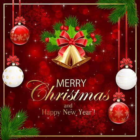 moños de navidad: el tema de Navidad, fondo de la chispa roja con copos de nieve, bolas de Navidad, campanas de oro, lazos rojos y ramas de árboles de abeto, ilustración.