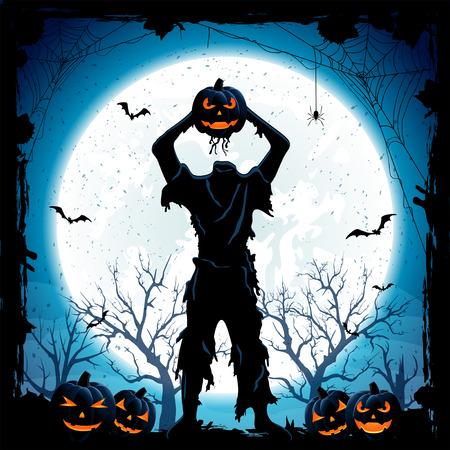 jack o  lanterns: Monster with head of Halloween pumpkin and Jack O Lanterns, blue night background with full Moon, illustration. Illustration