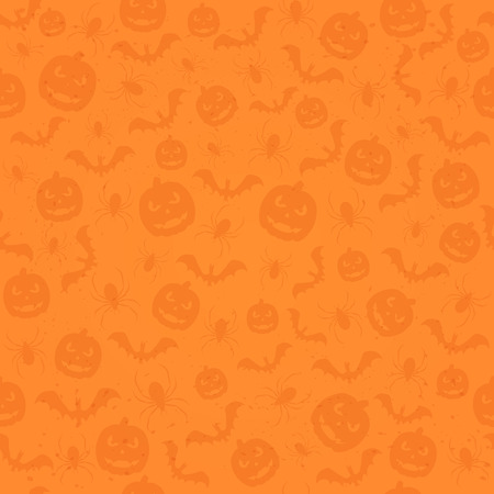 all saints day: Seamless orange Halloween background with holiday icons, pumpkins, bats and spiders, illustration. Illustration