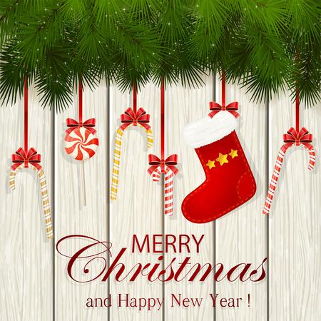 Inscripción Feliz Navidad y Feliz Año Nuevo con ramas de abeto, decoración de Navidad calcetín rojo y bastones de caramelo sobre un fondo blanco de madera, ilustración.