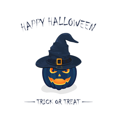 bewitch: Halloween theme, pumpkin in black witch hat with golden buckle isolated on white background, inscription Happy Halloween and trick or treat, illustration.