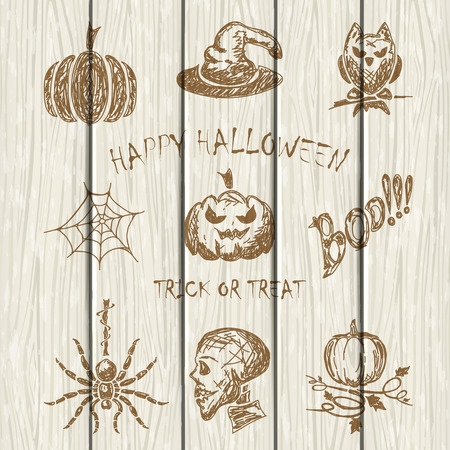 all saints day: Set of Halloween sketches icons drawn on white wooden background, holiday theme, illustration.