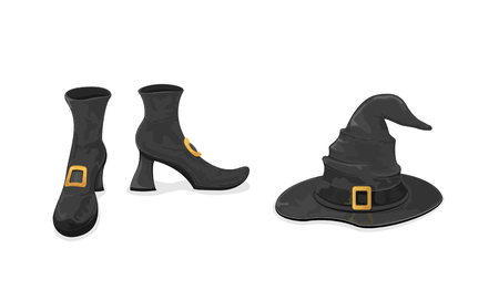 buckle: Halloween theme, black witches shoes and hat with golden buckle isolated on white background, illustration. Illustration