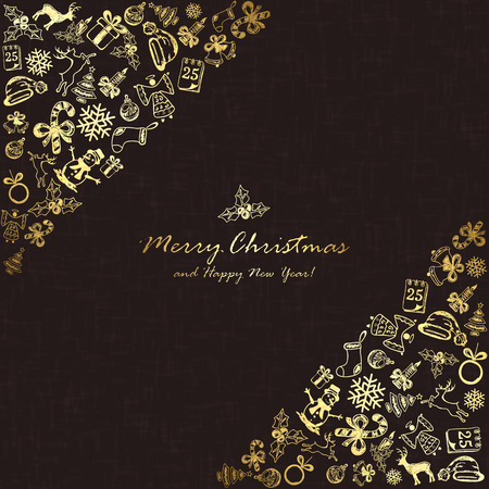 25 december: Golden Christmas elements in corner on black background, holiday decorations with Christmas tree, balls, bells, angel, Santa hat, sock, gift box, holly berries, candy cane, candle, snowflakes, snowman, deer and inscriptions Merry Christmas and Happy New Y Illustration
