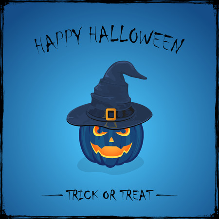 pointy hat: Halloween theme with Jack O Lantern, smiling pumpkin in black witches hat with golden buckle on blue background, inscription Happy Halloween and trick or treat, illustration.