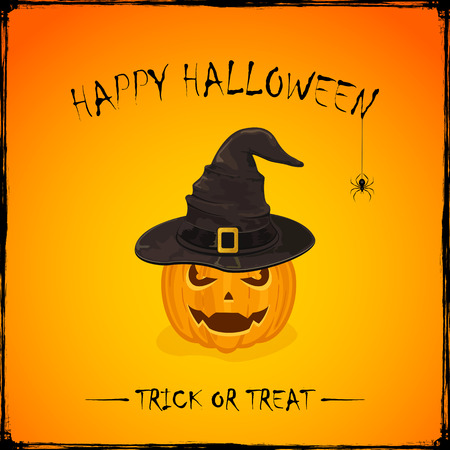 bewitch: Halloween theme with Jack O Lantern, smiling pumpkin in black witches hat with golden buckle on orange background, inscription Happy Halloween and trick or treat, illustration.