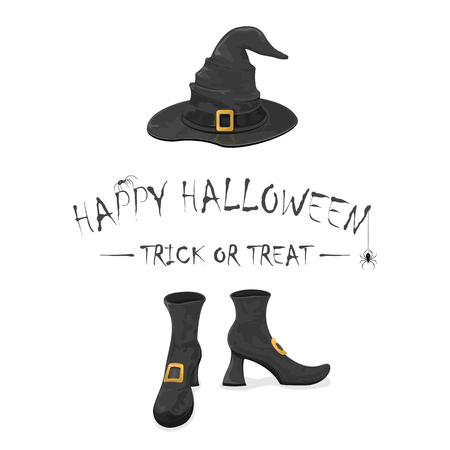 buckle: Inscription Happy Halloween and trick or treat with spiders, black witches shoes and hat with golden buckle, isolated on white background, holiday theme, illustration. Illustration