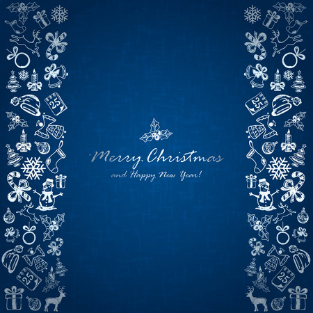 25 december: Silver Christmas elements on blue background, holiday decorations with Christmas icons, illustration.