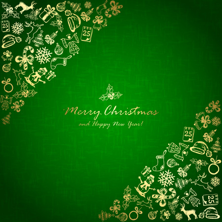 Golden Christmas elements in corner on green background, holiday decorations with Christmas tree, balls, bells, angel, Santa hat, sock, gift box, holly berries, candy cane, candle, snowflakes, snowman, deer and inscriptions Merry Christmas and Happy New Y