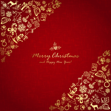 Golden Christmas elements in corner on red background, holiday decorations with Christmas tree, balls, bells, angel, Santa hat, sock, gift box, holly berries, candy cane, candle, snowflakes, snowman, deer and inscriptions Merry Christmas and Happy New Yea Illustration