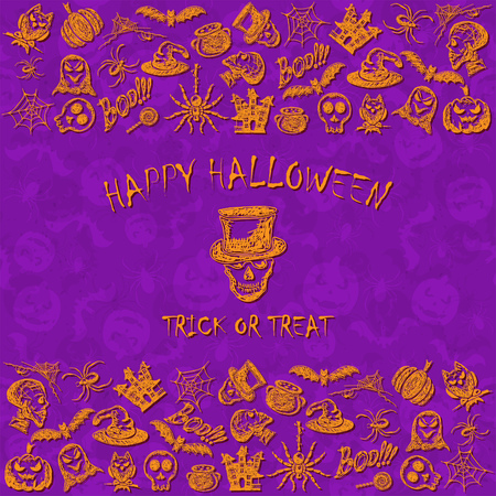 Violet Halloween background with set of orange sketches icons, holiday theme with inscription Happy Halloween and trick or treat, illustration.