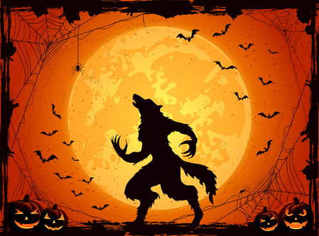 Moonlight lanterns: Orange Halloween background with Moon on sky, pumpkins and werewolf, grunge decoration with cobweb, spiders and flying bats, illustration.