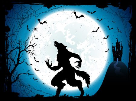 flying bats: Dark Halloween background with Moon on blue sky, castle and werewolf, grunge decoration with cobweb, spiders and flying bats, illustration. Illustration