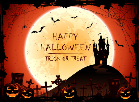 all saints day: Halloween pumpkins and old castle on cemetery, night background with full Moon, illustration.