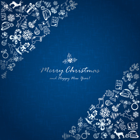christmas candy: Silver Christmas elements in corner on blue background, holiday decorations with Christmas tree, balls, bells, angel, Santa hat, sock, gift box, holly berries, candy cane, candle, snowflakes, snowman, deer and inscriptions Merry Christmas and Happy New Ye
