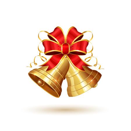 Goldene Weihnachtsglocken mit dem roten Bogen lokalisiert auf weißem Hintergrund, Feiertagsdekoration, Illustration.