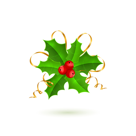 holly berries: Christmas holly berries with tinsel isolated on white background, holiday decoration, illustration. Illustration