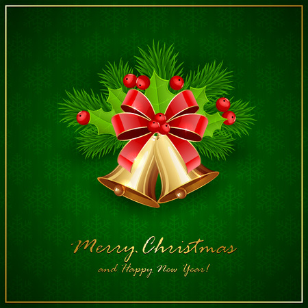 Golden Christmas bells with red bow, Holly berries and decorative spruce branches on green background with snowflakes, holiday decoration with inscriptions Merry Christmas and Happy New Year, illustration.