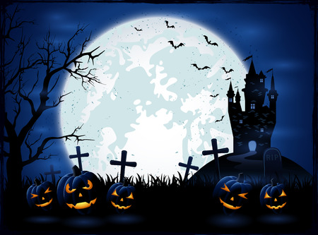 all saints day: Dark Halloween night, holiday background with Moon on blue sky, castle and pumpkins on cemetery, grunge decoration with cobweb, spiders and flying bats, illustration.