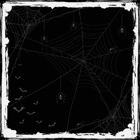 cobwebs: Abstract Halloween background with black spiders, cobwebs and flying bats, holiday theme with grunge decoration, illustration.