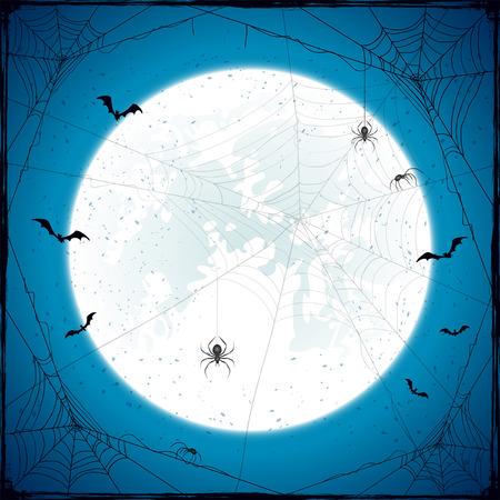 Abstracte achtergrond van Halloween met Maan op de blauwe hemel, zwarte spinnen, spinnenwebben en vliegende knuppels, vakantie thema met grunge decoratie, illustratie.