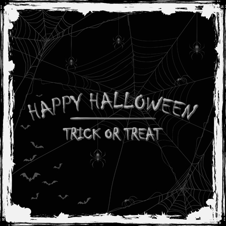 cobwebs: Abstract Halloween background with black spiders, cobwebs and flying bats, holiday theme with grunge decoration and inscriptions Happy Halloween and Trick or Treat, illustration.