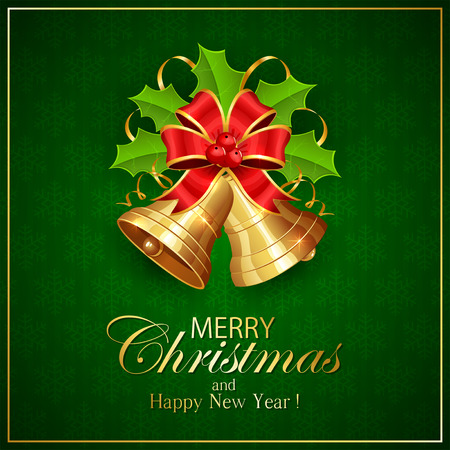 Golden Christmas bells with red bow and Holly berries on green background with snowflakes, holiday decoration with inscriptions Merry Christmas and Happy New Year, illustration.
