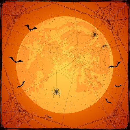 cobwebs: Abstract Halloween background with Moon on orange sky, black spiders, cobwebs and flying bats, holiday theme with grunge decoration, illustration.