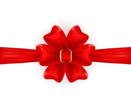 st valentin's day: Red shiny bow isolated on white background, holiday decoration, illustration.