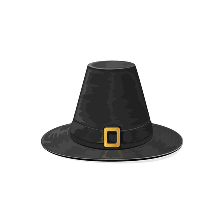 black history: Happy Thanksgiving day theme, black pilgrims hat with golden buckle, icon isolated on white background, illustration. Illustration