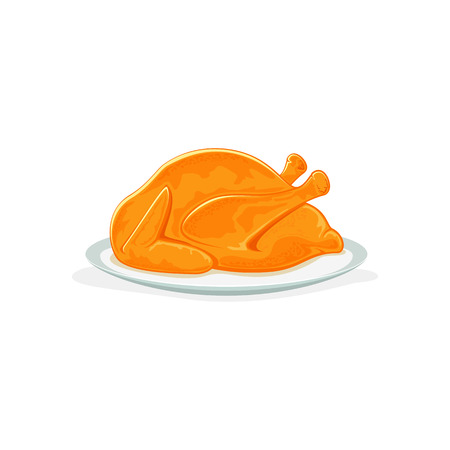 roast chicken: Roast turkey or chicken on plate, isolated on a white background, Christmas or Thanksgiving day theme, illustration. Illustration