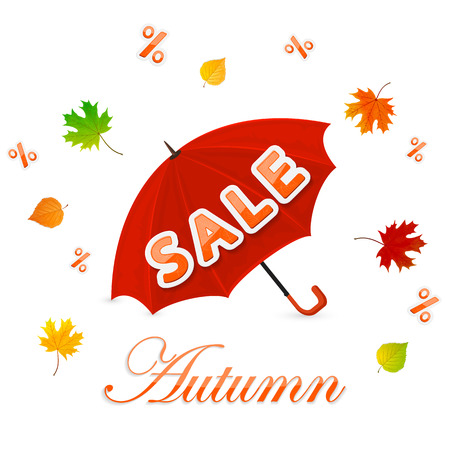 red leaves: Autumn sale with red umbrella and colorful leaves on a white background, illustration.