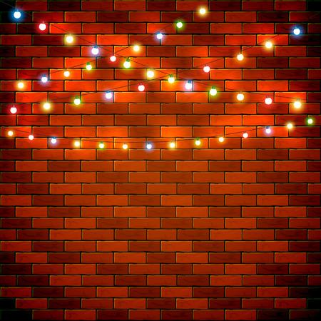 Kerstverlichting op bakstenen muur achtergrond, vakantie decoraties met kleurrijke lichten, illustratie. Vector Illustratie