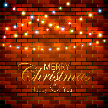 illuminated: Colorful Christmas light on brick wall background, holiday decorations with inscriptions Merry Christmas and Happy New Year, illustration.