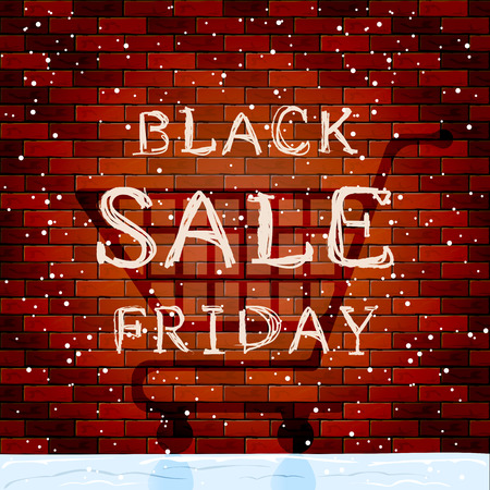 black shadow: Black Friday Sale and shadow of shopping supermarket cart on brick wall background, winter snowy background, illustration.